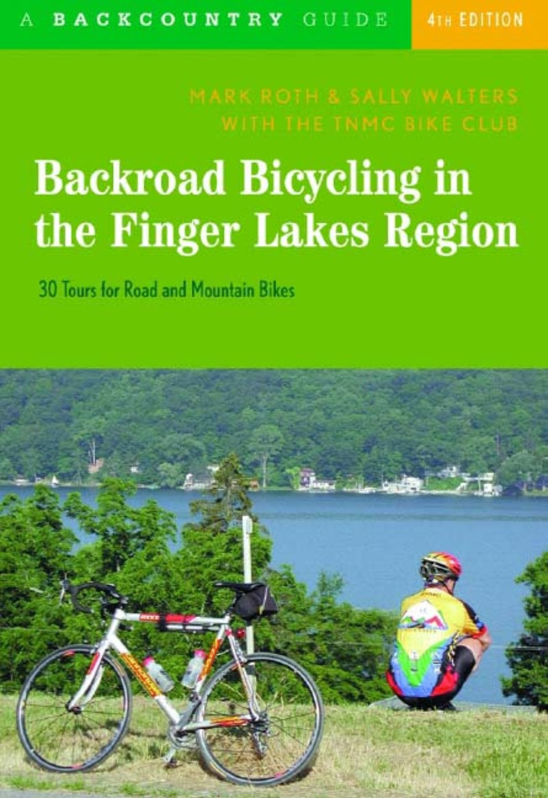 Book cover for Backroad Bicycling in the Finger Lakes Region by Mark Roth
