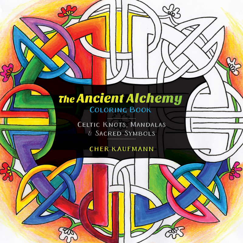 Book cover for The Ancient Alchemy Coloring Book by Cher Kaufmann